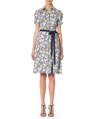 Daisy-Print Short-Sleeve Shirtdress
