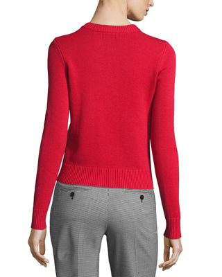Image 2 of 2: Button-Detail Cashmere Crewneck Sweater
