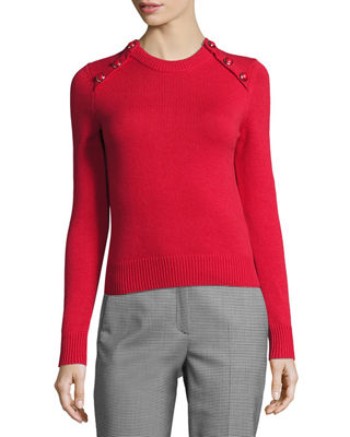 Image 1 of 2: Button-Detail Cashmere Crewneck Sweater