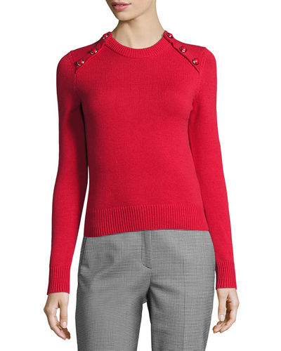 Michael Kors Collection Button-Detail Cashmere Crewneck Sweater