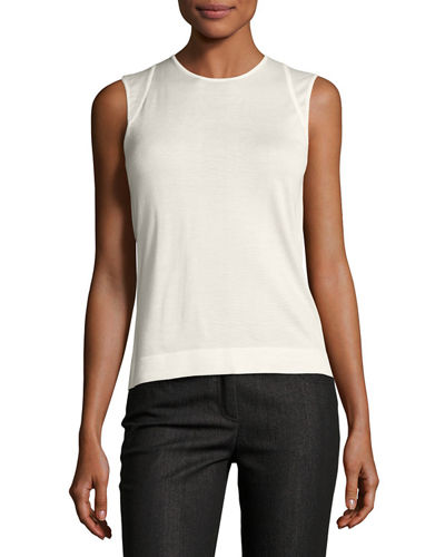 Akris Jewel-Neck Cashmere-Silk Tank and Matching Items