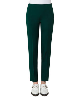 Akris Melissa Silk Crepe Slim-Fit Pants
