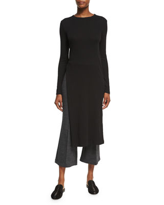 Side-Slit Midi Tunic T-Shirt