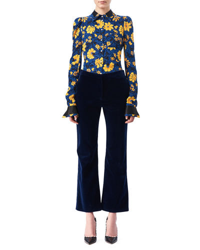 Altuzarra Nettle Velvet Flared Crop Pants and Matching