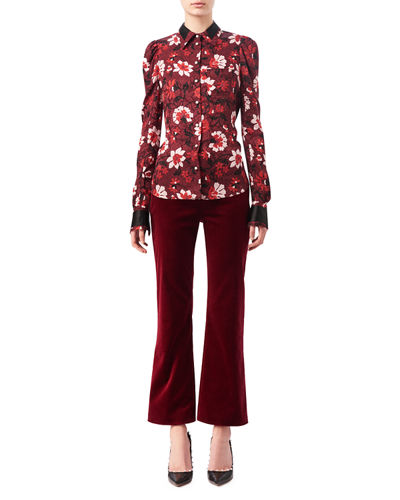 Marlowe Floral Dot Satin-Trim Shirt