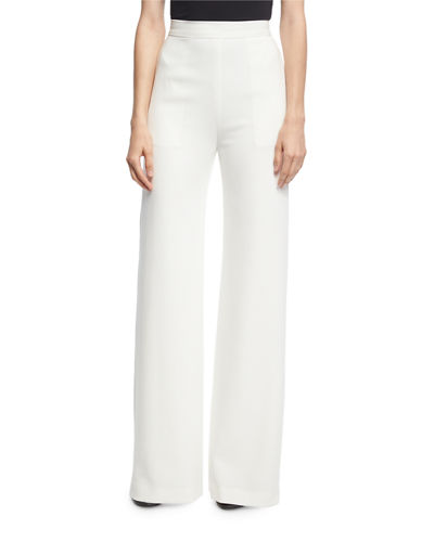 Brandon Maxwell High-Waist Crepe Wide-Leg Trousers, Ivory and