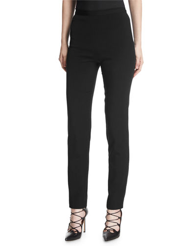 Brandon Maxwell Crepe Cigarette Pants, Forest and Matching