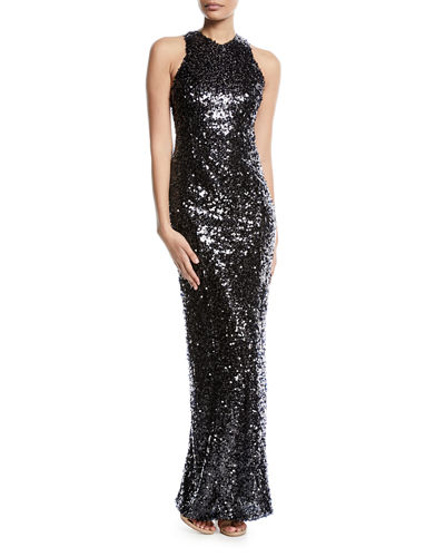 Galvan Sequined Racerback Column Gown, Medium Brown