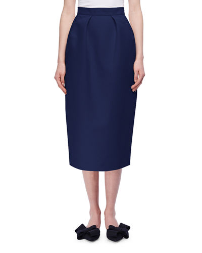 Pleated Cotton Pencil Skirt