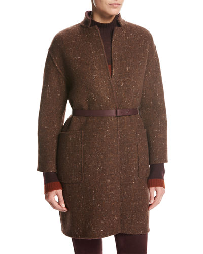 Loro Piana Morgan Mini-Check Reversible Boucle Car Coat