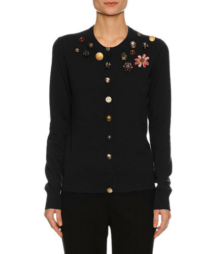 Dolce & Gabbana Button-Embellished Cashmere Cardigan and Matching