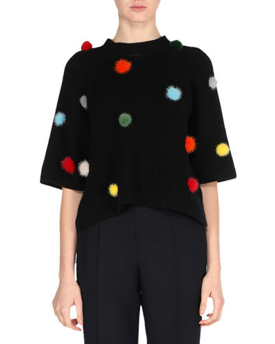 Fendi Elbow-Sleeve Ribbed Cashmere Sweater with Mink Pompoms