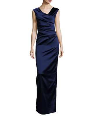 NOTE V-NECK CAP-SLEEVE RUCHED GOWN