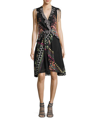 Sleeveless Lace-Trim Paisley High-Low Dress