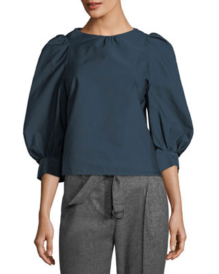 Atlantique Ascoli Florentine Puff-Sleeve Cotton-Linen Blouse