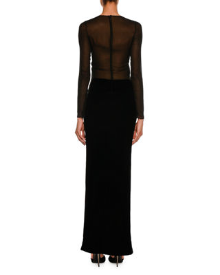 Image 2 of 2: Sequined Velvet Long-Sleeve Gown