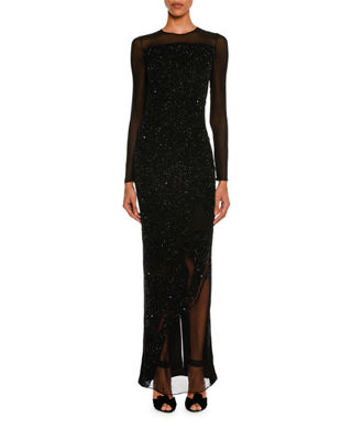 Image 1 of 2: Sequined Velvet Long-Sleeve Gown