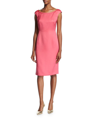 Escada Duchesse Satin Boat-Neck Cap-Sleeve Sheath Dress and