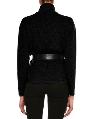 Cashmere Stand-Collar Sweater with Leather Belt