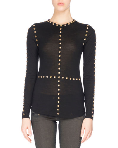 Long-Sleeve Button-Trim Jersey Top