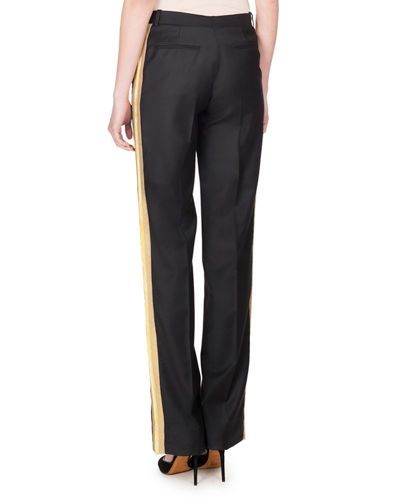 Wool Track-Stripe Straight-Leg Trousers