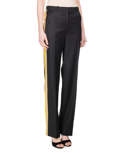 Givenchy Wool Track-Stripe Straight-Leg Trousers and Matching