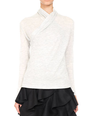Surplice-Front Cashmere Sweater