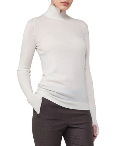 Akris Ribbed Cashmere-Silk Mock-Neck Sweater and Matching Items