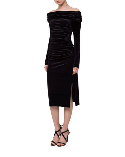 Ruched Off-the-Shoulder Velvet Midi Dress