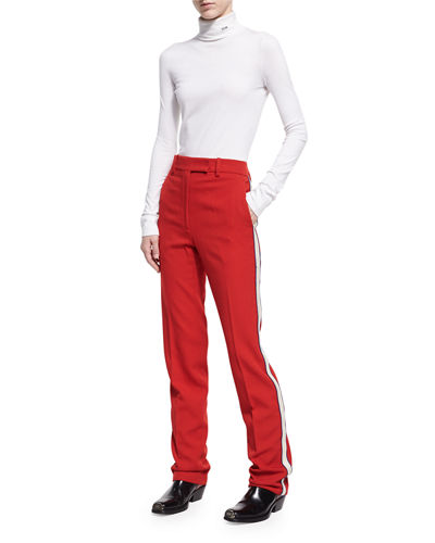 Side-Stripe Wool Twill Pants