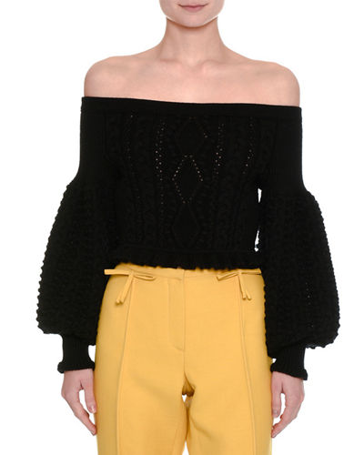 Valentino Off-the-Shoulder Virgin Wool Cable-Knit Sweater