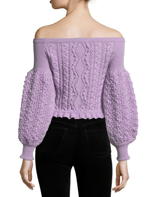 Image 2 of 2: Off-the-Shoulder Virgin Wool Cable-Knit Sweater