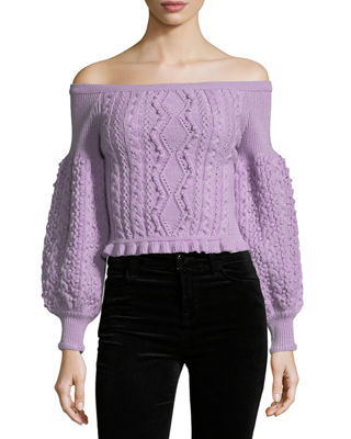 Image 1 of 2: Off-the-Shoulder Virgin Wool Cable-Knit Sweater