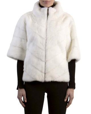 Chevron Mink Fur Topper Jacket