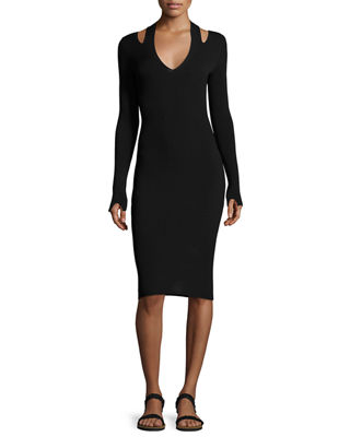Venia Slit-Shoulder Midi Dress