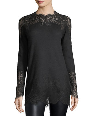 Ermanno Scervino Pashmina Lace-Inset Long-Sleeve Top