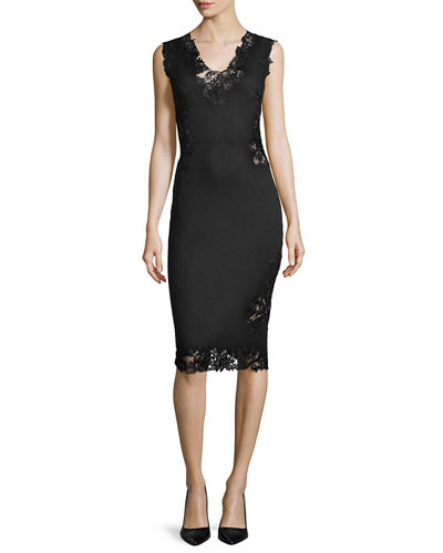 Ermanno Scervino Pashmina Lace-Inset Sheath Dress