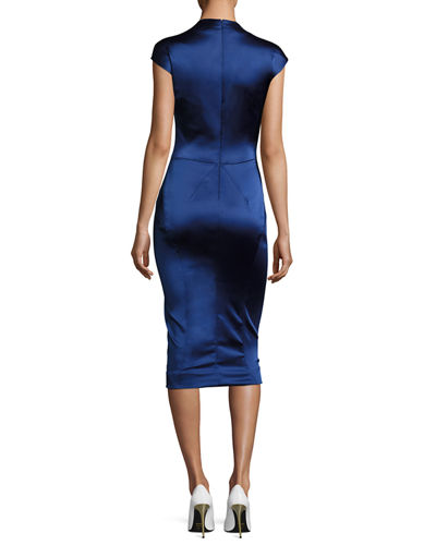 Cap-Sleeve Satin Sheath Dress