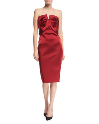 Image 1 of 3: Strapless Fitted Satin Cocktail Dress