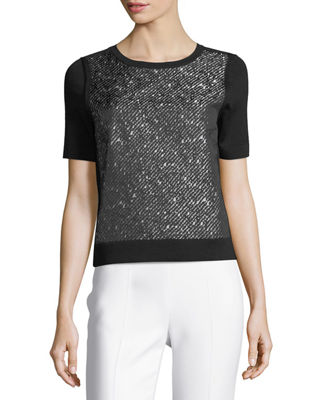 Escada Tweed-Print Jacquard Knit Top