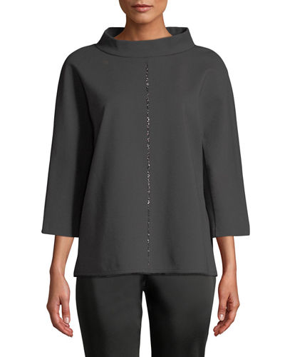 Escada Crystal-Trim 3/4-Sleeve Pullover and Matching Items
