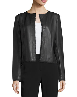 Napa Leather Fringe-Trim Jacket