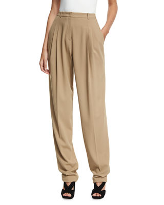 Michael Kors Collection Virgin Wool Pleated Carrot Trousers
