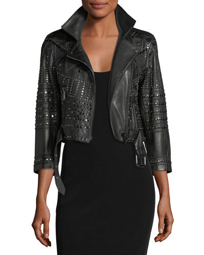 Nour Hammour Vendome Cropped 3/4-Sleeve Studded Leather Moto