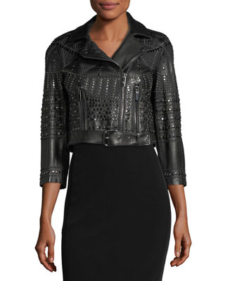 Vendome Cropped 3/4-Sleeve Studded Leather Moto Jacket