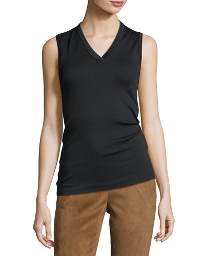 Cotton Monili-Trim V-Neck Tank