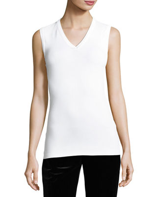 Brunello Cucinelli Cotton Monili-Trim V-Neck Tank
