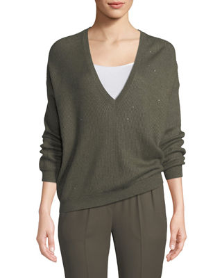 Cashmere-Blend Micro-Paillette V-Neck Boyfriend Sweater