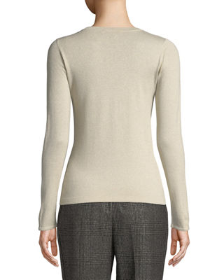 Image 2 of 2: Crewneck Long-Sleeve Cashmere-Blend Knit Pullover
