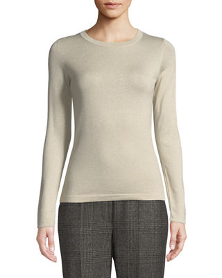 Image 1 of 2: Crewneck Long-Sleeve Cashmere-Blend Knit Pullover